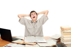 Student Yawning. Tired Student Yawning on the School Desk. Isolated on the White Royalty Free Stock Image