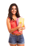 Student. Young and beautiful student posing isolated over white Stock Photo