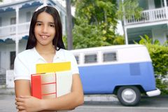 Student young girl teen latin holding books Stock Photos