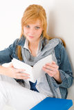 Student young happy woman portrait with book Stock Images