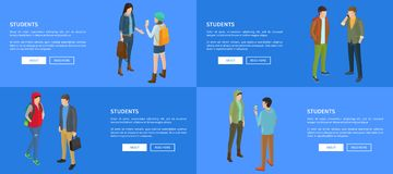 Student Young People Communicating met elkaar royalty-vrije illustratie