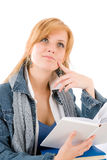 Student young woman hold book Royalty Free Stock Image
