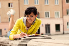 Student young woman with notebook Stock Photos
