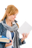 Student young woman read book Royalty Free Stock Photos