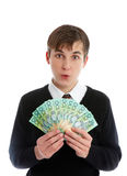 Student or young worker holding money Stock Photography