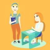 Student zwei in der Schule stock abbildung
