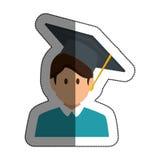 studentavatar med isolerade symbolen för avläggande av examen den hatt Royaltyfri Foto