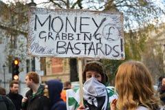 """Studentdemonstration för fri utbildnings†""""inga snitt, inga avgifter, n Royaltyfri Fotografi"""