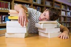 Studente addormentato nella biblioteca Fotografia Stock Libera da Diritti