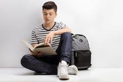 Studente adolescente che legge un libro Fotografia Stock