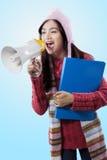 Studente adorabile che urla con un megafono Fotografia Stock Libera da Diritti