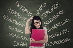 Studente ansioso che ha molti problemi Immagini Stock Libere da Diritti