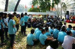 Studente asiatico della High School, attività, campo Immagine Stock