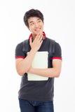 Studente asiatico giovane di pensiero. Fotografia Stock Libera da Diritti