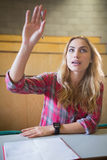 Studente attraente che solleva mano durante la classe Fotografia Stock Libera da Diritti