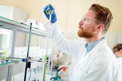 Studente attraente di chimica che lavora nel laboratorio Fotografie Stock Libere da Diritti