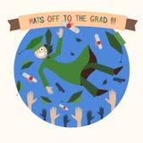 Studente, cappucci e diploma felici di graduazione lancianti livello royalty illustrazione gratis