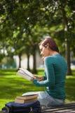 Studente casuale calmo che si siede sulla lettura del banco Fotografie Stock