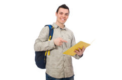 Studente caucasico sorridente con lo zaino ed i libri isolati su wh Fotografia Stock