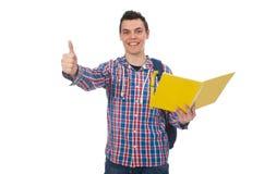Studente caucasico sorridente con lo zaino ed i libri isolati su wh Immagine Stock