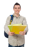 Studente caucasico sorridente con lo zaino ed i libri su wh Fotografia Stock