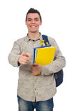 Studente caucasico sorridente con lo zaino ed il libro isolati sul whi Immagine Stock Libera da Diritti
