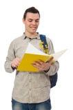 Studente caucasico sorridente con lo zaino ed il libro isolati sul whi Fotografia Stock