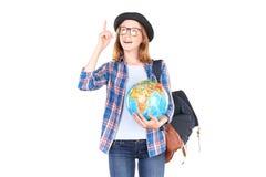Studente che posa con il globo Immagini Stock