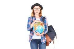 Studente che posa con il globo Immagini Stock Libere da Diritti