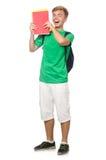 Studente con i manuali isolati Fotografie Stock
