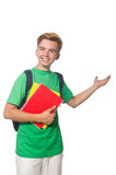 Studente con i manuali isolati Immagini Stock Libere da Diritti