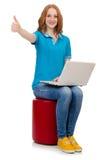 Studente con il computer portatile su bianco Immagine Stock