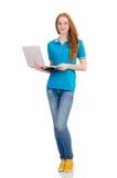 Studente con il computer portatile su bianco Fotografia Stock Libera da Diritti