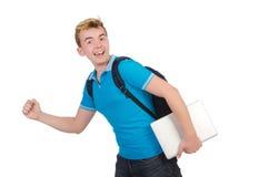 Studente con il computer portatile su bianco Immagine Stock Libera da Diritti