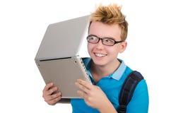 Studente con il computer portatile su bianco Immagini Stock Libere da Diritti