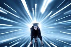 Studente con il fondo veloce del mosso Immagini Stock