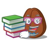 Studente con il fumetto della mascotte del chicco di caffè del libro Immagine Stock