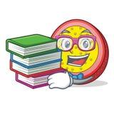 Studente con il fumetto della mascotte del frutto della passione del libro Immagini Stock