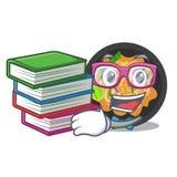 Studente con il picchiettio del libro tailandese sul piatto della mascotte illustrazione di stock
