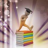 Studente con il salto del cappello del diploma della tenuta di gioia Immagini Stock Libere da Diritti