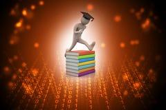 Studente con il salto del cappello del diploma della tenuta di gioia in computer portatile Immagine Stock