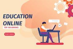 Studente con l'apprendimento del computer portatile distante via Internet illustrazione di stock