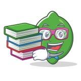 Studente con stile del fumetto della mascotte della calce del libro Fotografia Stock Libera da Diritti
