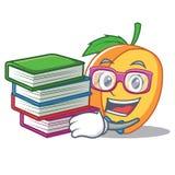 Studente con stile del fumetto della mascotte dell'albicocca del libro Immagine Stock