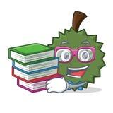 Studente con stile del fumetto della mascotte del Durian del libro Fotografie Stock Libere da Diritti
