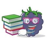 Studente con stile del fumetto della mascotte della mora del libro Fotografie Stock Libere da Diritti