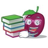 Studente con stile del fumetto della mascotte della prugna del libro Immagine Stock