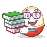 Studente con stile del fumetto della mascotte del rambutan del libro Fotografia Stock