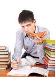 Studente con una pizza Fotografie Stock
