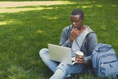 Studente concentrato che prepara per l'esame in parco Immagine Stock
